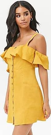 Forever 21 Forever 21 Flounce Linen Button-Front Dress Mustard