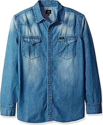 a31fdb29d Lee mensLM00LW318XDenim Long Sleeve Shirt Heritage Western Regular Big Tall  Long Sleeve Button-Down Shirt -