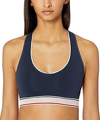 2051495e Tommy Hilfiger Womens Cotton Sporty Lounge Bralette Bra, Navy Blazer Blue  with Mesh Band Side