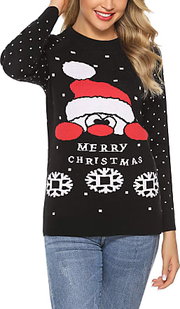 Aibrou Ladies Christmas Knitted Jumper Woman Long Sleeve Novelty Sweater Knitwear Tops for Xmas Black