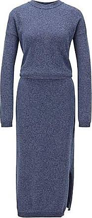 BOSS Strickkleid aus Mouliné-Baumwolle mit Rundhalsausschnitt