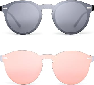 JIM HALO Polarized Rimless Sunglasses Reflective One Piece Round Mirrored Eyeglasses for Men Women 2 Pack (Silver & Pink)
