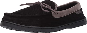 Dearfoams Mens Corduroy Moccasin with Tie Slipper, Black, Medium