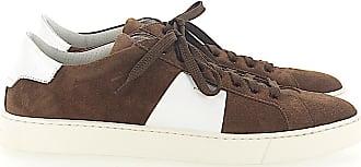 Santoni Low-Top Sneakers calfskin suede Logo brown white
