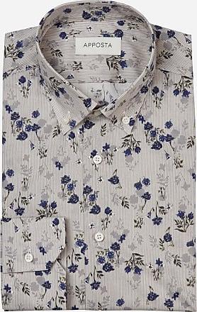 Apposta Shirt flowers designs grey 100% pure cotton poplin, collar style low button-down collar