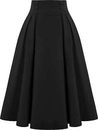 Belle Poque 40s Ladies Summer Evening Party Knee Length Wiggle Skirts Solid Color Black 2150 Medium