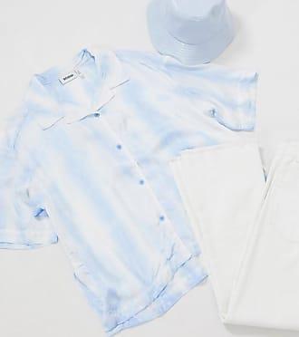 Weekday Simone tie-dye crop shirt in pastel blue
