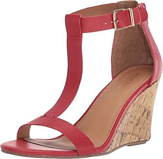 Kenneth Cole Reaction Womens Ava Great T-Strap Wedge Sandal, Red, 6 M US