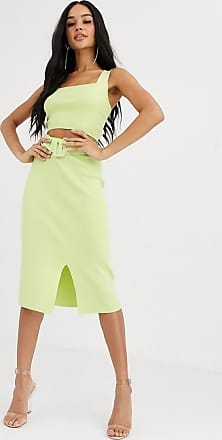 4th & Reckless knitted pencil skirt with belt detail in lime-Yellow
