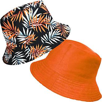 TOSKATOK Unisex Mens Ladies Tropical Palm Leaf Cotton Bush Bucket Sun Hat-Orange