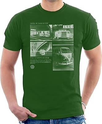 Volkswagen T1 Campervan 1967 Shots Mens T-Shirt Bottle Green