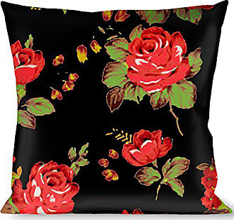 Buckle Down Pillow Decorative Throw Red Roses Scattered Black