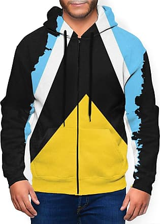 Not Applicable Clothing Mens Full Zip Hoodie Long Sleeve Active Jackets Sports Flag Map of Saint Lucia Hoodies Zipper Sweatshirts Black