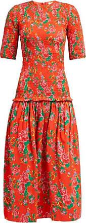 Rhode Resort Rhode - Zola Shirred Floral-print Cotton Midi Dress - Womens - Red Print