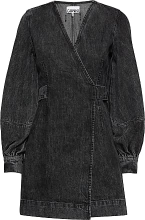 Ganni Washed Denim Wrap Dress Kort Klänning Svart Ganni