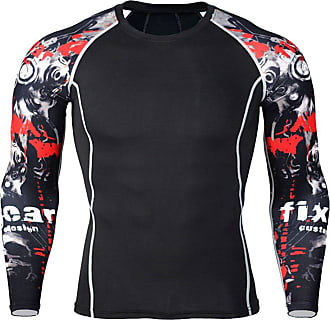 YiJee Mens Sports Running T-Shirt Compression T-Shirts Long Sleeves Fitness Base Layer Tops As Picture6 M
