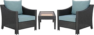 BEST SELLING HOME Outdoor Best Selling Home Antibes Wicker 3 Piece Lounge Chair Chat Set - 303346