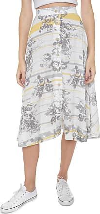 Calvin Klein Jeans Saia Calvin Klein Jeans Midi Flowers Branca