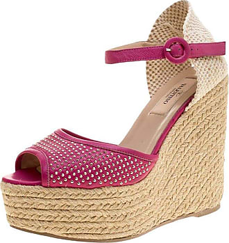 0d37a8dfec6c Valentino Pink Studded Leather Espadrille Wedge Ankle Strap Sandals Size 37