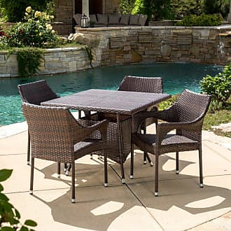 BEST SELLING HOME Outdoor Jenefa Wicker 5 Piece Square Patio Dining Set - 295830