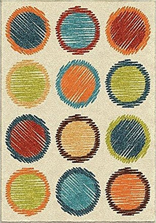 Orian Rugs Kids Court Circle Sketch Area Rug, 310 x 52, Ivory