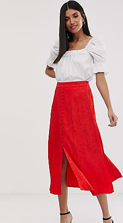 Y.A.S. Tall button front jacquard midi skirt-Red