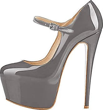 e109e5f92cee60 Onlymaker Damenschuhe Stiletto Plateau High Heels Round Toe Kunstleder  Riemchen Pumps Grau EU41