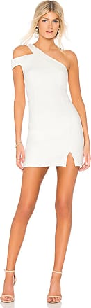 bobi BLACK One Shoulder Dress in White