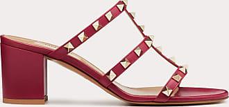 Valentino Garavani Valentino Garavani Rockstud Calfskin Leather Slide Sandal 60 Mm Women Raspberry Pink Calfskin 100% 39.5