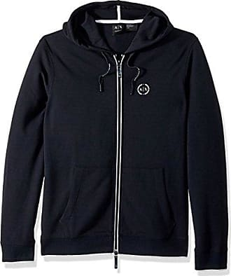 A|X Armani Exchange Mens Basic Zip Up Hoodie with Chest Logo, Navy, XL