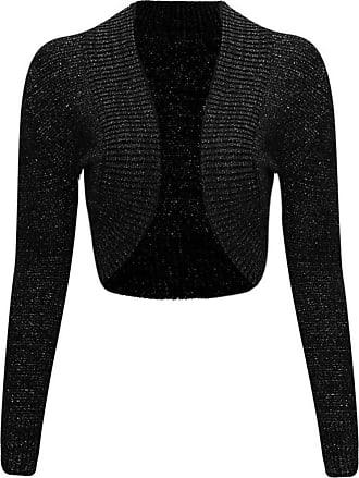 Islander Fashions Women Ladies Long Sleeve Knitted Metallic Lurex Shrug Cardigan Bolero Crop Top (Medium, Black)