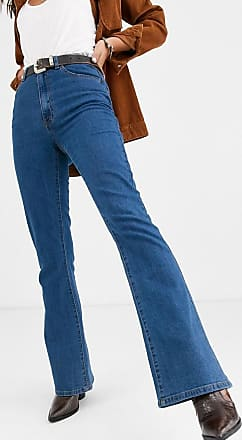 Object high waisted flared jeans in mid blue