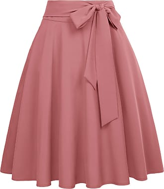 Belle Poque 50s Style Pleated Swing Skirt for Tea Party Cocktail with Pockets for Women Brick Red(561-17) Medium