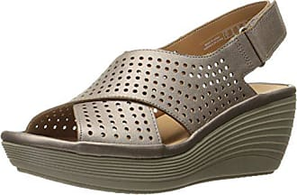 18e3c938e99d Clarks Womens Reedly Variel Wedge Sandal Metallic Leather 11 M US