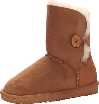 Jamron Women Classy Sheepskin Mid-Calf Snow Boots Warm Shearling Wool Lined Winter Boots with Button Brown SN021013 UK7.5