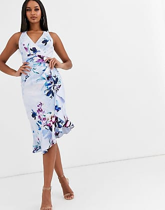 Lipsy Vestito midi accollato a fiori-Multicolore