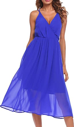 Zeagoo Womens Spaghetti Strap V-Neck Open Back Solid Beach Party Chiffon Layered Midi Dress Royal Blue
