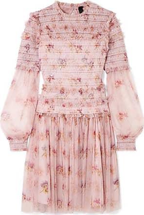 Needle & Thread Think Of Me Gerafftes Minikleid Aus Tüll Mit Blumenprint Und Pailletten - Pastellrosa