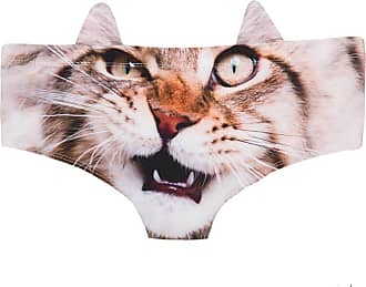 Yohji Yamamoto Womens 3D Animal Cat Print Cute Prints Briefs with Ears,Cute Cat 3D Printed Hipster Underwear (Angry cat), One Size