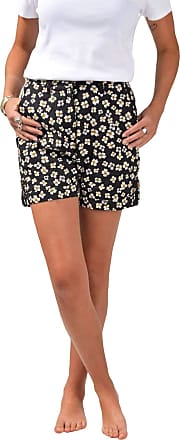 White Label Famous UK Brand Ladies Linen Floral Shorts Fitted with Pockets Belt Loops Black Size 12