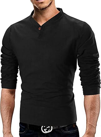 Hellomiko Mens Fashion Solid Color Stand-up Collar Flax Long Sleeve T-Shirt, 5 Colors M-XXXXXL Black