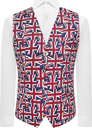King & Priory Union Jack Flag Waistcoat, Red / White / Blue, 3XL | 48 Inches Chest