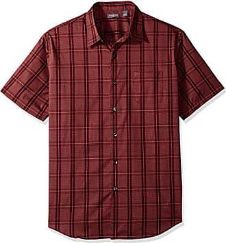 Van Heusen Mens Flex Short Sleeve Button Down Windowpane Shirt, New Burgundy Oxblood, Small