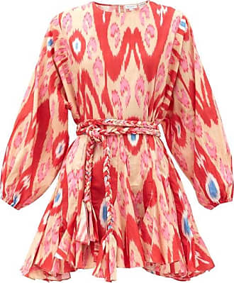 Rhode Resort Rhode - Ella Belted Ikat-print Cotton Mini Dress - Womens - Red Print