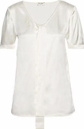 aa35a144cca973 Saint Laurent Saint Laurent Woman Silk-satin Top Ivory Size 40