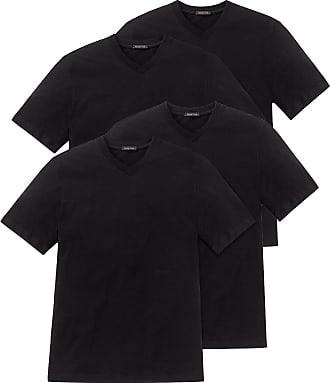 Schiesser Men 4 Pack American T-Shirt Single Jersey, Crew Neck or V-Neck, M-XXXL - Black or White: Color: Black (V-Neck)   Size: Large