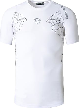 Jeansian Mens Sports Breathable Quick Dry Short Sleeve T-Shirts Tee Tops Running Training LSL014 White XL
