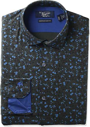 Original Penguin Mens Slim Fit Dress Shirt, Black Print, 17.5 Neck 34-35 Sleeve