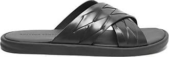 Bottega Veneta Intrecciato Crossover Leather Slides - Mens - Black
