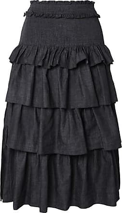 See By Chloé Tiered Denim Midi Skirt - Midnight blue